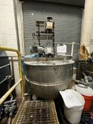 GROEN 250 GALLON S/S BOTTOM-JACKETED KETTLE WITH TOP-MOUNT DUAL MOTION AGITATION, MODEL RA-250,