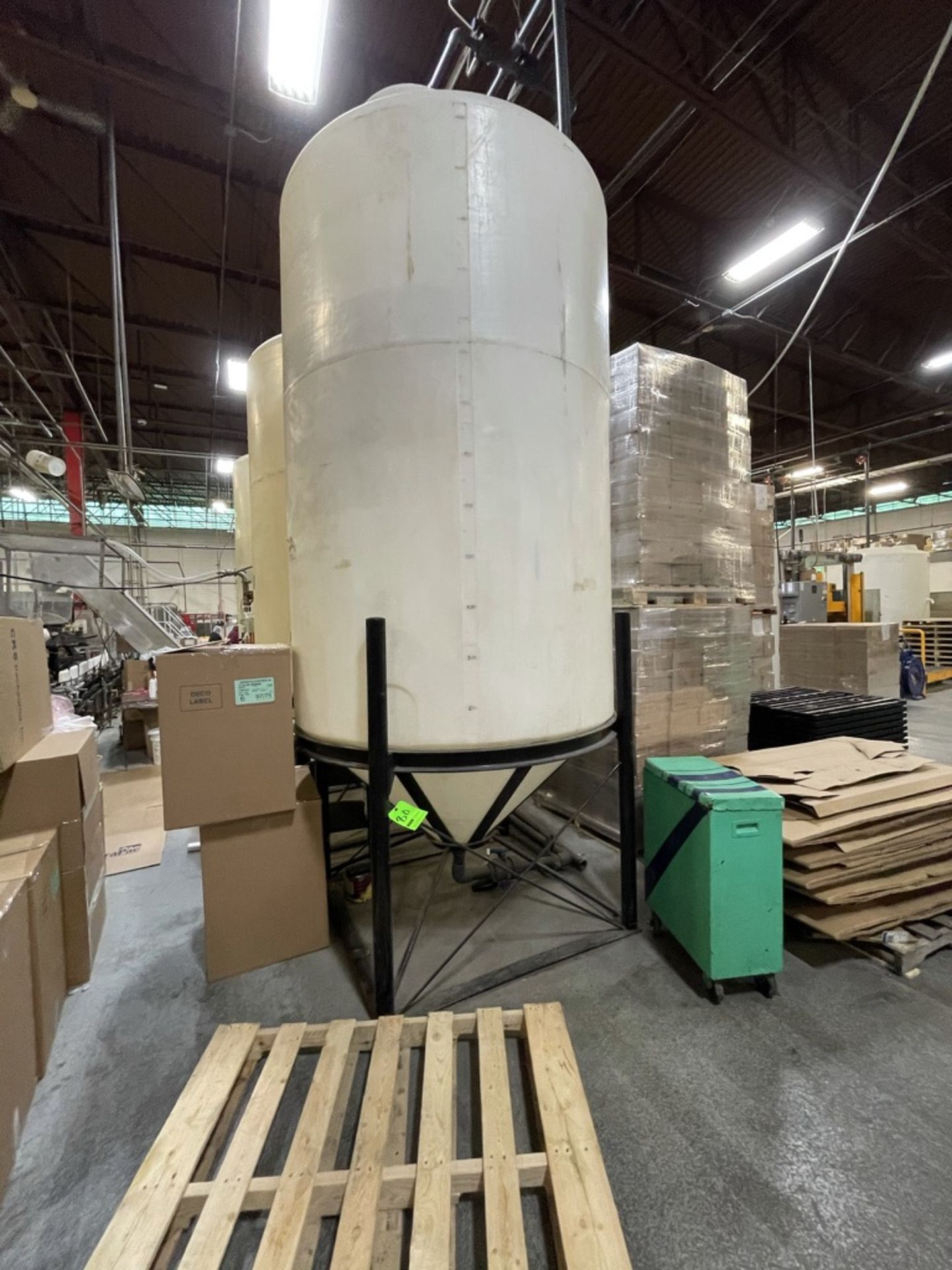 ACE ROTO MOLD APPROX. 1,400 GALLON CONE-BOTTOM POLY STORAGE TANK, STEEL FRAME