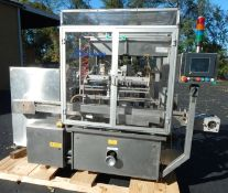 INLINE PISTON FILLER BY GRONINGER, MODEL DPV4000, SERIAL # 3919. FEATURES ALL STAINLESS STEEL CONST