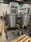 (2) 50 GALLON S/S PORTABLE TANKS WITH HINGED LIDS, MOUNTED ON CASTERS