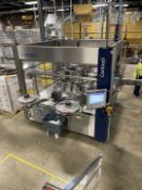 KRONES CONTIROLL ROLL-FED WRAP AROUND LABELER, S/N K745X66, 340 MM MAX LABEL LENGTH, 175 MIN LABEL