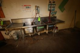 """Triple Bowl S/S Sink, with (2) S/S Counters at Each End, Overall Dims.: Aprox. 90"""" L x 26"""" W x 37"""" H"""