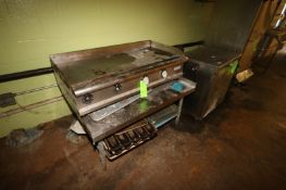 """S/S Griddle Unit, Aprox. 48"""" L x 40"""" W, Mounted on S/S Table (Located in Adamstown, PA) (Rigging,"""