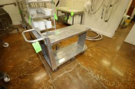 """S/S Cart, Overall Dims.: Aprox. 55"""" L x 18"""" W x 38"""" H, with Upper & Lower Deck, On Casters ("""