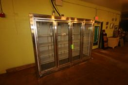 """Leader 4-Door Refrigerator, with Glass Display Type Doors, Overall Dims.: Aprox. 104"""" L x 31"""" W x"""