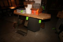 "S/S Table & L-Shape Wood Top Table, S/S Table Dims.: Aprox. 48"" L x 30"" W x 35"" H, with S/S Legs &"