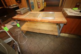 Butcher Block Table with (1) Double Decker Shelving Unit, Butcher Block Table Overall Dims.: