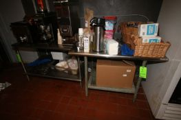 """S/S Tables, 1-Aprox., 1-Aprox. 48"""" L x 30"""" W x 35"""" H, & 1-Aprox. 46"""" L x 24"""" W x 33"""" H, with S/S"""