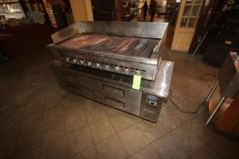 "S/S Grill Top Unit, Mounted on S/S Base with Bottom Compartments, Grill Area Dims.: Aprox. 53"" L x"