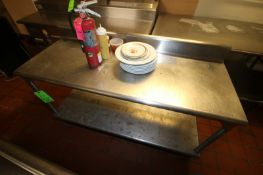 """S/S Table with S/S Back Splash & Round Edges, Includes S/S Bottom Shelf, Overall Dims.; Aprox. 60"""" L"""