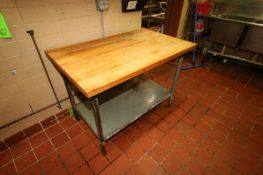 "1-S/S Table with S/S Bottom Shelf, Overall Dims.: Aprox. 48"" L x 30"" W x 35"" H, with 1-Cutting Block"