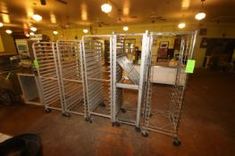 """(4) Aluminum Pan Racks Mounted on Casters, Assorted Styles, Overall Dims.: Aprox. 25-1/2"""" L x 20"""""""