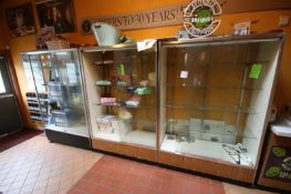 """Glasss Display Cases, with Sliding Glass Windows, Overall Dims.: Aprox. 48"""" L x 20"""" W x 72"""" H ("""