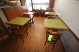 """Café Seating Area, with (4) Tables, Aprox. 30"""" x 30"""", with (11) Wooden Chairs (Located in"""
