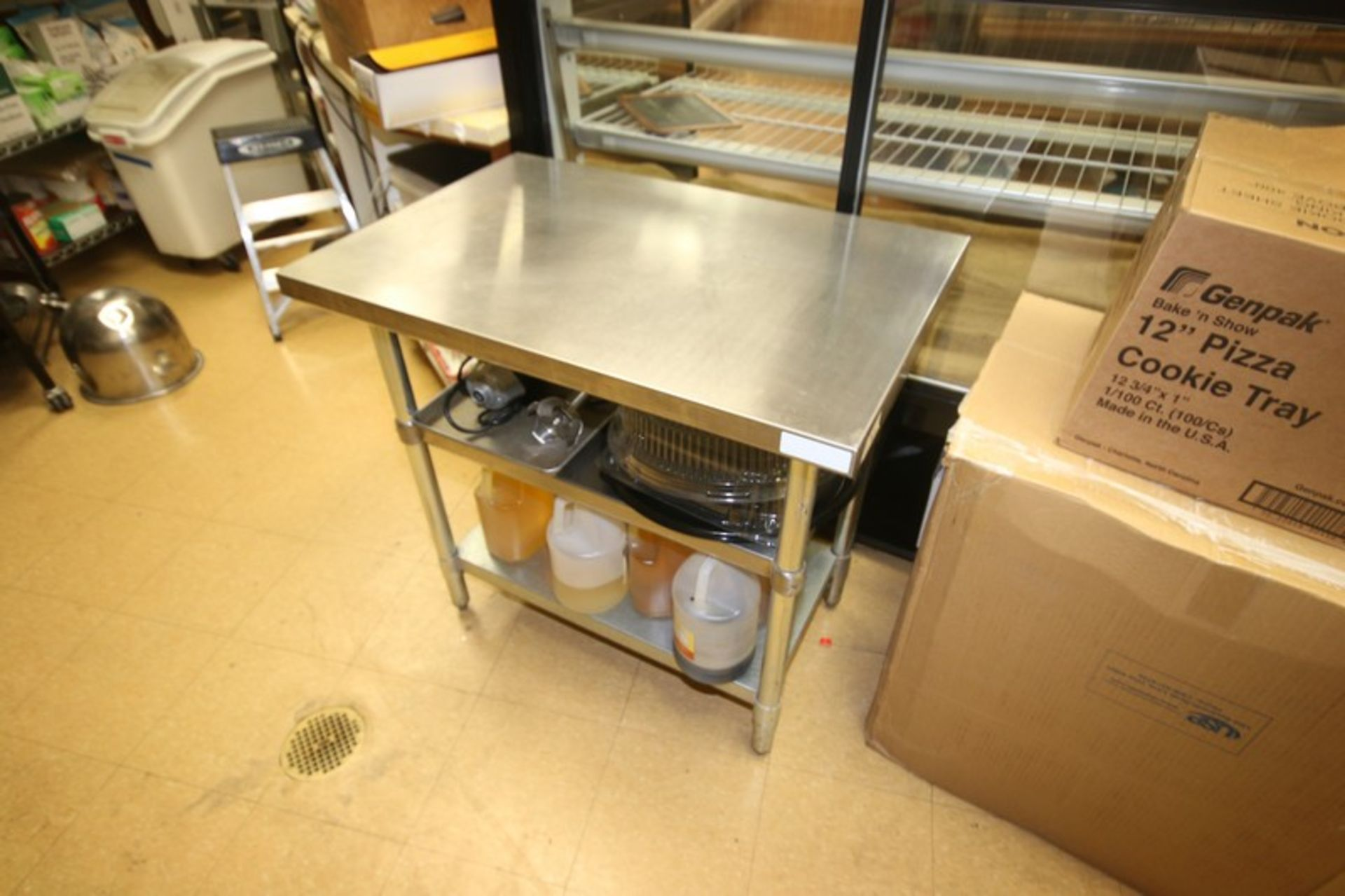 """S/S Table, with (2) S/S Bottom Shelves, Overall Dims.: Aprox. 36"""" L x 24"""" W x 34-1/2"""" H (Locatd in"""