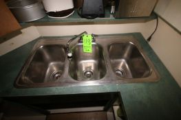 """S/S Triple Bowl Sink, Counter Mounted, Overall Dims.: Aprox. 37"""" L x 19-1/2"""" W x 12"""" H (Located in"""
