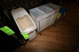 Ingredient Bins, (1) Single Set of Portable Rubbermaid Ingredient Bin & (1) Set of 3 Portable