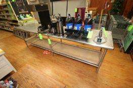"""S/S Table, Overall Dims.: Aprox. 116"""" L x 30"""" W x 34"""" H, with Wooden Bottom Shelf, On S/S Legs ("""