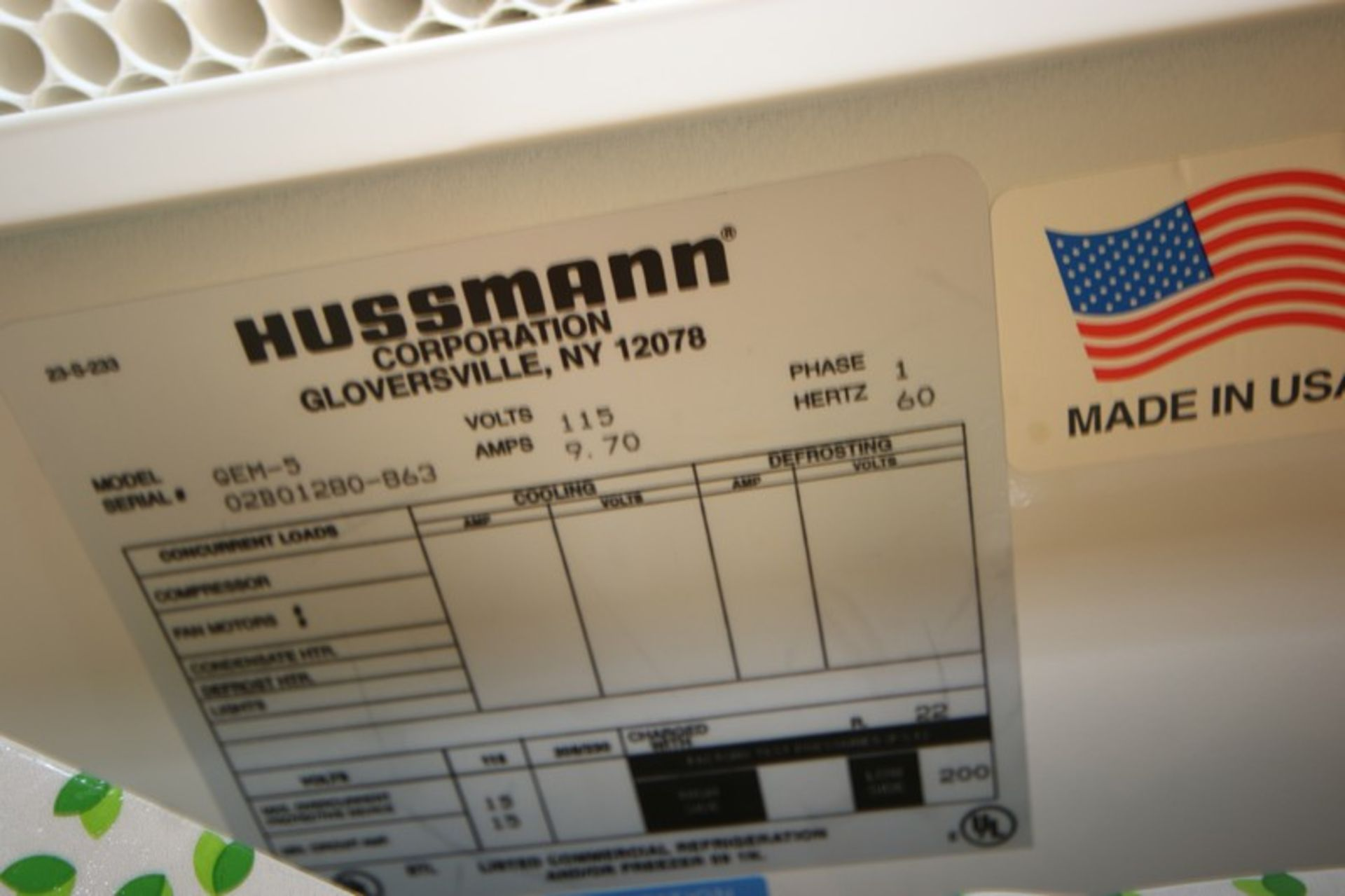 Hussman 5-Door Refrigeration Unit, M/N GEM-5,S/N 02BQ1280-863, 115 Volts, 1 Phase, Overall Dims.: - Image 3 of 3