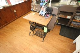 Wooden Table with Black Iron Bottom (Located in McMurray, PA) (Rigging, Loading & Site Management