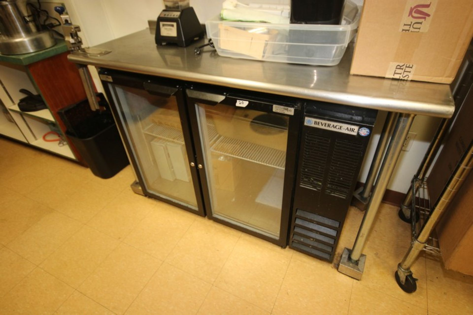 """Beverage-Air 2-Door Refrigerator, with Glass Faced Refrigeration Doors, Overall Dims.: Aprox. 48"""""""