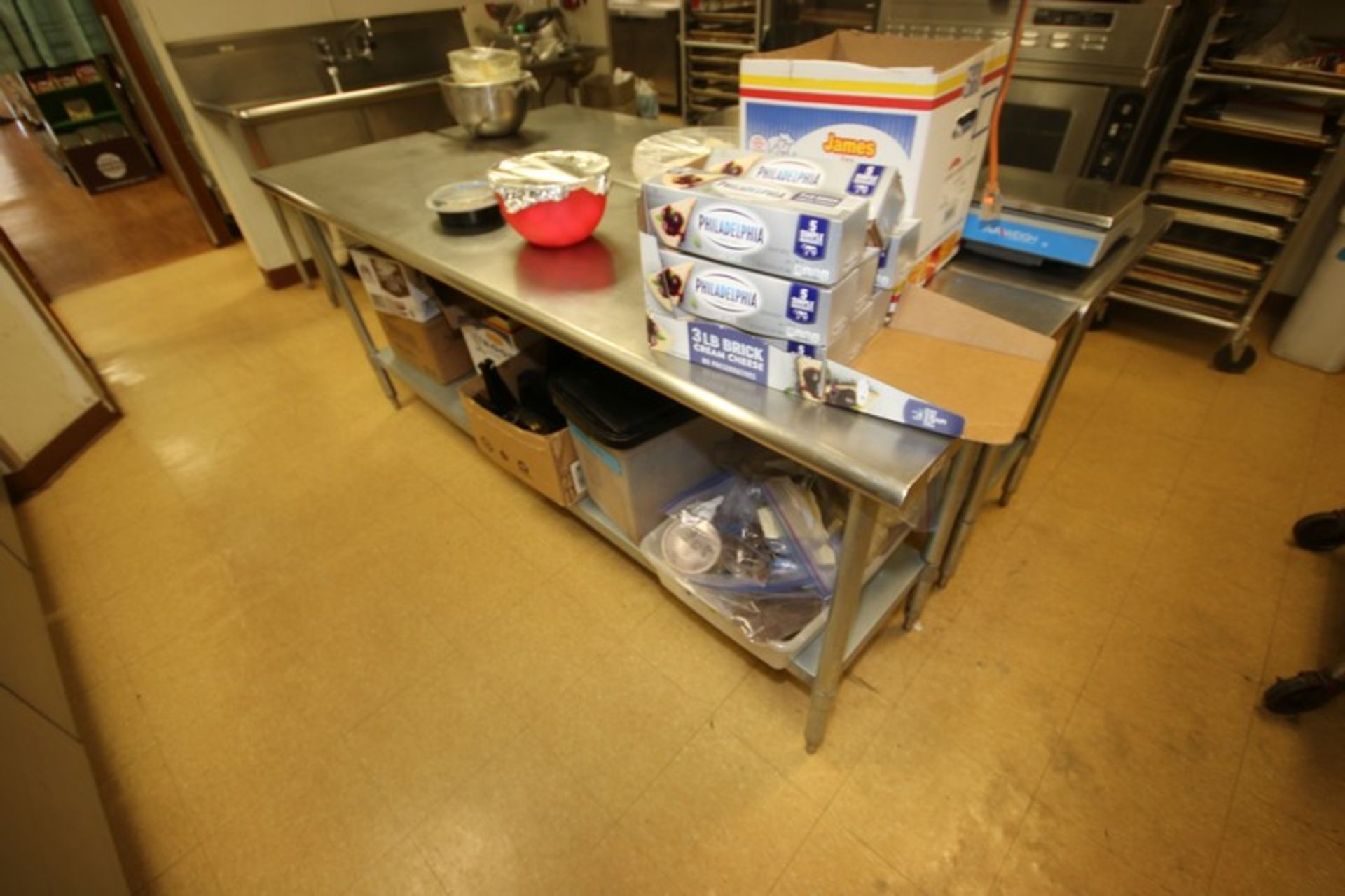 """S/S Table, with S/S Bottom Shelf, Overall Dims.: Aprox. 84"""" L x 24"""" W x 36"""" H (Located in - Image 2 of 2"""