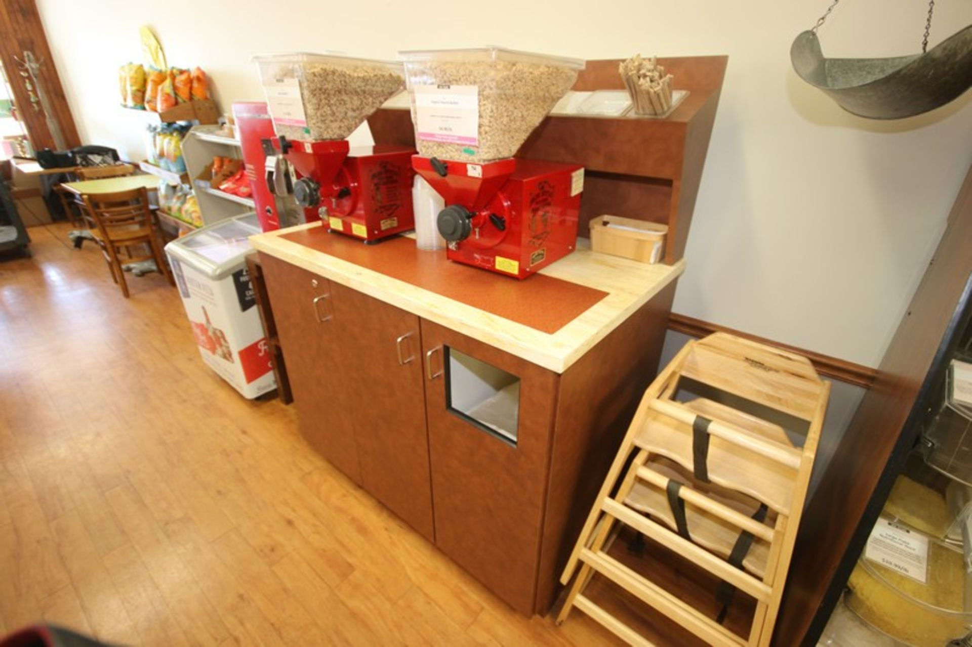 """Utensil & Condiment Counter, with Trask Bin Insert & 2-Bottom Doors, Overall Dims.: Aprox. 49"""" L x"""