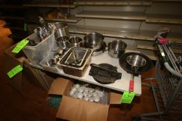 Lot of Assorted S/S Pans, S/S Inserts, S/S Kitchen Utensils, & S/S Measuring Cups (Located in