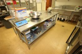 "S/S Table, with S/S Bottom Shelf, Overall Dims.: Aprox. 84"" L x 24"" W x 36"" H (Located in"