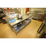 """S/S Table, with S/S Bottom Shelf, Overall Dims.: Aprox. 84"""" L x 24"""" W x 36"""" H (Located in"""