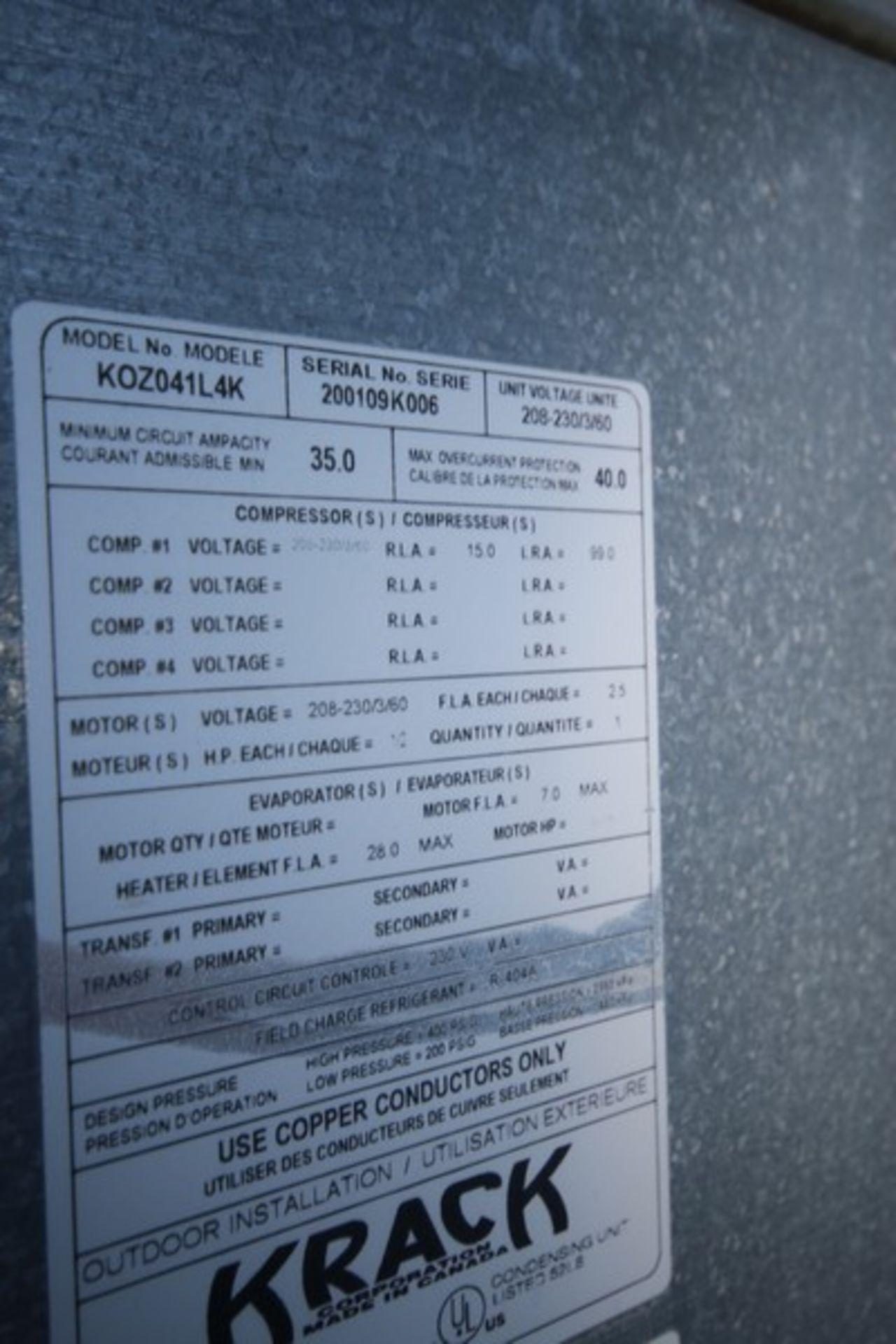 Krack Refrigeration Compressor, M/N KOZ042L4K, S/N 200109K006 with R-404A Refrigerant, 208-230/460 - Image 6 of 6