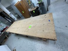 WOODEN WORKSHOP TABLE (MADE IN SHOP) WITH VICE ATTACHED, APPX DIMENSIONS 121''L x 41''W x 33''H (