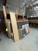 ASSORTED WOOD AND POLYCARBONATE SHEETS, INCLUDES TABLE AND WOODEN STORAGE RACKS (Non-Negotiable