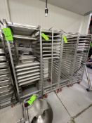 (4) CHANNEL ALUMINUM BAKING PAN RACK, MODEL 401A, INCLUDES APPROX. (30) BAKING SHEET PANS, MIX OF