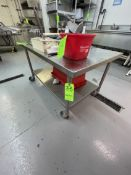 """PORTABLE S/S TABLE WITH SHELF, MOUNTED ON CASTERS, 53"""" X 32"""" X 30"""""""