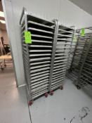 (10) CHANNEL ALUMINUM BAKING PAN RACK, MODEL 401A, INCLUDES APPROX. (170) BAKING SHEET PANS, MIX