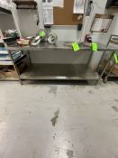 """S/S TABLE WITH SHELF, APPROX. 75"""" X 32"""" X 34"""" LWH"""