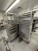 (5) CHANNEL ALUMINUM BAKING PAN RACK, MODEL 401A, INCLUDES APPROX. (105) BAKING SHEET PANS, MIX OF
