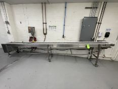 """PORTABLE S/S INCLINE CONVEYOR, APPROX. 192"""" L X 14"""" W X 41"""" H MAX (AT OUTFEED), APPROX. 26"""" H"""