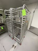 (4) CHANNEL ALUMINUM BAKING PAN RACK, MODEL 401A, INCLUDES APPROX. (23) BAKING SHEET PANS, MIX OF