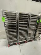 (3) CHANNEL ALUMINUM BAKING PAN RACK, MODEL 401A, INCLUDES APPROX. (86) BAKING SHEET PANS, MIX OF