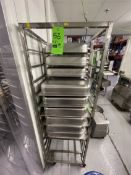 (2) STEAM TABLE / WARMING PAN RACKS, INCLUDES APPROX. (18) WARMING / STEAM TABLE PANS, APPROX.