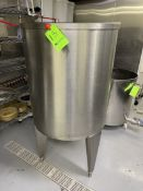 """S/S HINGED-LID CONE-BOTTOM TANK WITH BUTTERFLY OUTLET VALVE, APPROX. 33"""" L STRAIGHT WALL X 29"""" W"""
