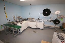 BULK BID: LOTS 1-11 INCLUDES, (4) Ultra-Sonic Spindle Medical Mask Manufacturing Machine, Rack of