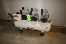 JI VA Air Compressor, with (3) Top Mounted Heads, with Horizontal Receiver, Mounted on Wheels (