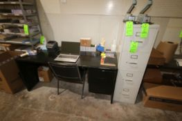 Verticl 4-Drawer Filing Cabinet, with Desk & Chair (NOTE: Does Not Include Contents On Top of