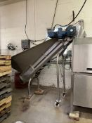 VANMARK S/S PRODUCT HOPPER WITHCLEATEDINCLINE INFEED CONVEYOR, S/N 02635-7005-0397, HOPPER APPROX.