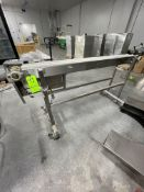 """S/S CONVEYOR, APPROX. 6-1/2"""" W X 74"""" L, EQUIPPED WITH BALDOR 3/4 HP / 1730 RPM MOTOR"""