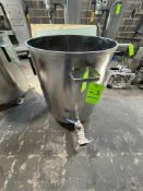 """S/S TANK, 25"""" DIAMETER X 27"""" HEIGHT, 2"""" OUTLET (RIGGING, LOADING, SITE MANAGEMENT FEE $100)"""