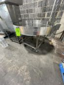 """S/S 48"""" ROTARY ACCUMULATION / PACK OFF TABLE, PORTABLE UNIT MOUNTED ON CASTERS"""